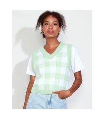 colete de tricô feminino mindset estampado xadrez vichy decote v verde claro