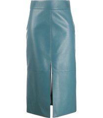 givenchy mid-length leather pencil skirt - blue