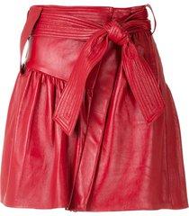 andrea bogosian belted leather mini skirt - red
