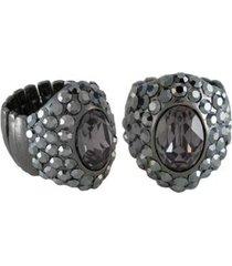 anel armazem rr bijoux pedra oval com cristais feminino
