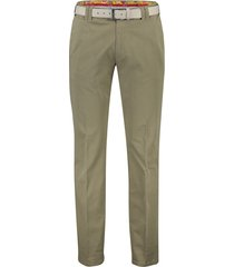 meyer pantalon oslo flatfront met riem bruin