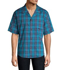 plaid short-sleeve button-down shirt