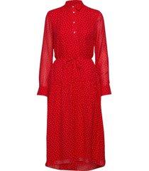 d1. french dot chiffon dress knälång klänning röd gant
