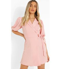 wikkel blazer jurk met pofmouwen, peach