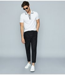 reiss aaron - press stud cotton polo shirt in white, mens, size xxl