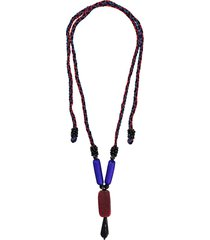 a.n.g.e.l.o. vintage cult woven beaded necklace - blue