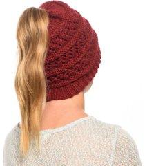 angela & william messy bun ponytail crochet beanie