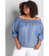 lane bryant women's 3/4 sleeve chambray off-the-shoulder top 30/32 chambray