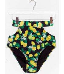 womens we mean citrus lemon cut-out bikini bottoms - black