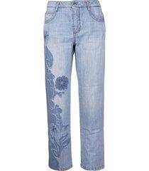 ermanno scervino boyfriend jeans with blue side floral insert