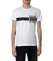 calvin klein jeans white cotton logo print t-shirt