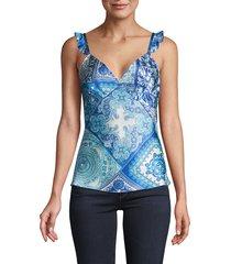 hale bob women's mixed-print silk top - blue - size xs