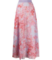 giambattista valli poppy-print pleated chiffon skirt - purple