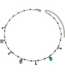 colar dona diva semi jóia curto pedra feminino
