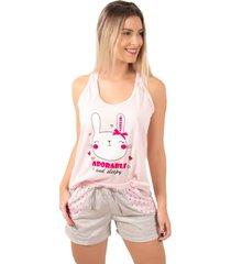 pijama bella fiore modas short doll tal mãe rosa