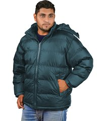 men puffy winter jacket with detachable hood