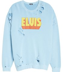 women's r13 elvis graphic distressed sweatshirt, size x-small - blue