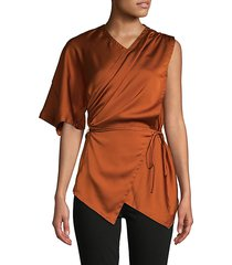 belted draped satin top