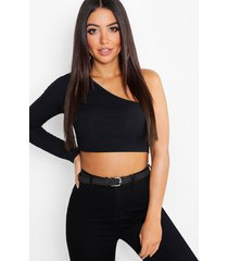 one shoulder rib basic crop top, black