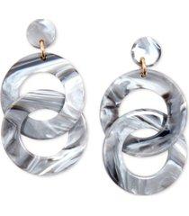 zenzii gold-tone & acetate linked circle drop earrings