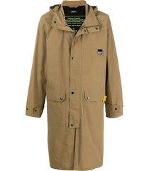diesel techno poplin long coat - neutrals
