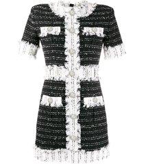 balmain tweed short-sleeved dress - black