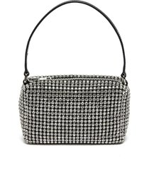 heiress' rhinestone embellished pouch logo top handle bag