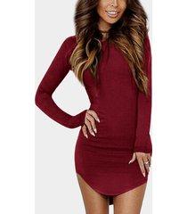 yoins basics redondo cuello corte ajustado con dobladillo curvo vestido en color burdeos