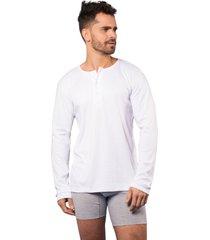camiseta hombre manga larga cuello 3 botones blanca santana