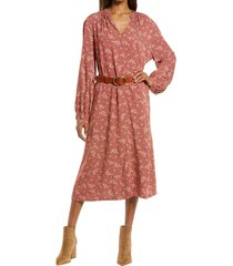women's treasure & bond shirred long sleeve midi dress, size x-large - brown
