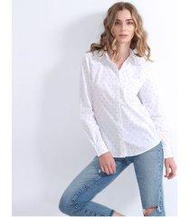 camisa para mujer manga larga, cuello v, botones frontales color-blanco estampado-talla-xs