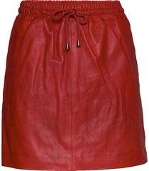 skirt with smock waist kort kjol röd depeche