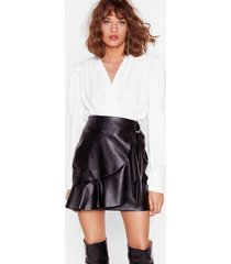 womens faux leather saw it coming ruffle mini skirt - black