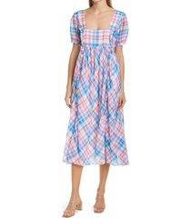 women's loveshackfancy kimball plaid ruffle midi dress, size medium - blue