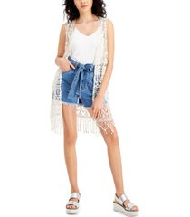 say what? juniors' cotton crochet fringe-trim vest