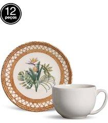 conjunto 12pçs xícaras de chá porto brasil coup rattan branco/bege