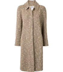 chanel pre-owned 1996 loose fit tweed coat - brown