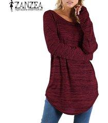 zanzea mujeres cuello redondo de manga larga tapas ocasionales blusa de la camisa floja de la vendimia -rojo