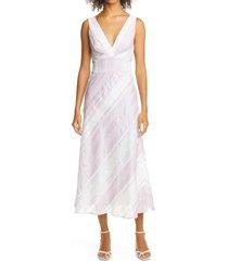 women's rebecca taylor stripe tie back linen blend dress