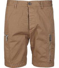 brown cotton aviator shorts