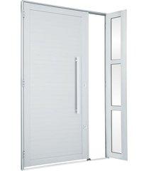 porta de alumínio de abrir alumifort branca com lambri horizontal com seteira com puxador 1 folha abertura direita 216x120x5,4 - sasazaki - sasazaki
