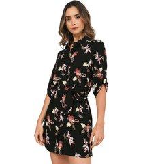 vestido camisero estampado flores negro 157018 charby