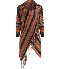 asymmetrical fringe hem striped cardigan