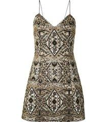 alice+olivia cross-back mini dress - gold