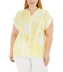 alfani plus size printed pleated split-neck top, created for macy's