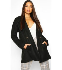 oversized collared wool look coat, black