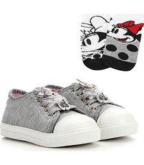 kit tênis infantil disney minnie unicórnio + 2 meias feminino - feminino