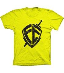 camiseta baby look lu geek escudo da fã© amarelo - amarelo - feminino - dafiti