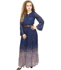 long dress in blue voile with floral print