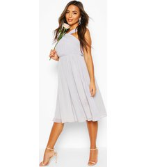 petite occasion pleated detail midi dress, grey